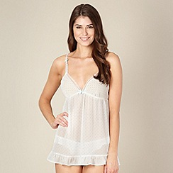 Presence - White spotted chiffon babydoll with knickers