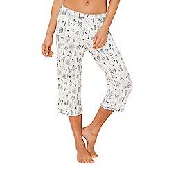 Lounge & Sleep - Cream plant print 'Making Waves' pyjama bottoms