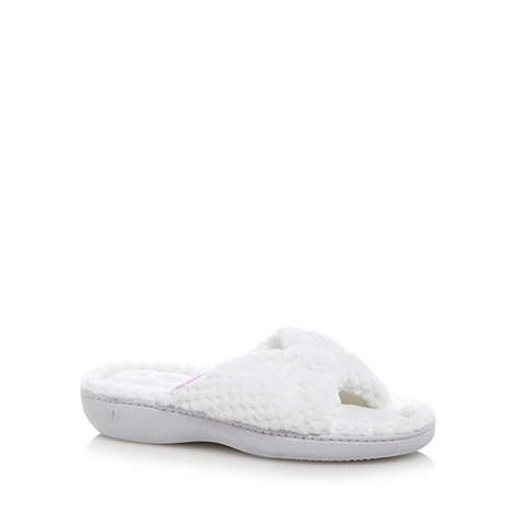 Totes - White popcorn fleece open toe mule slippers