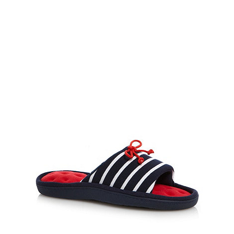Isotoner - Navy striped open toe mule slippers