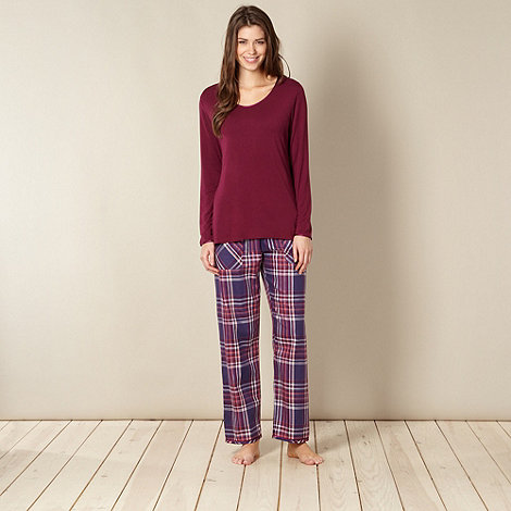 Cyberjammies - Purple knit top and check pant sleep set