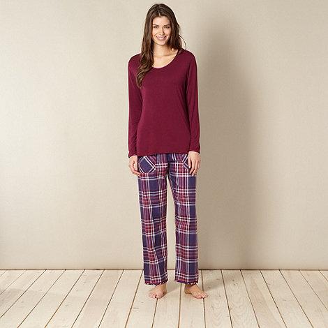 Cyberjammies - Purple knit top and check pant sleep set