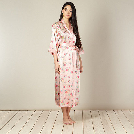 Presence - Peach long floral satin wrap