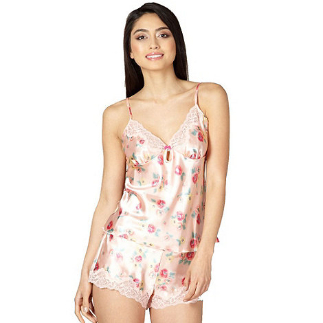 Presence - Peach floral satin camisole and shorts set