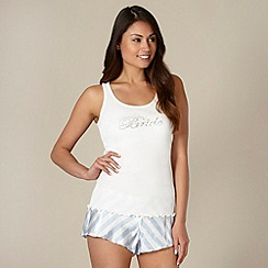 Presence - White 'Bride' vest and shorts pyjama set