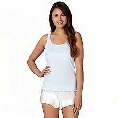 Presence - Blue 'I do' ribbed vest and shorts pyjama set