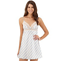 Presence - Blue striped satin chemise and garter set