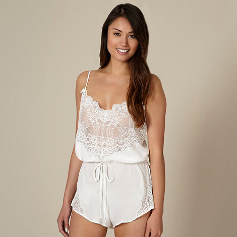 Presence - Ivory diamante lace teddy