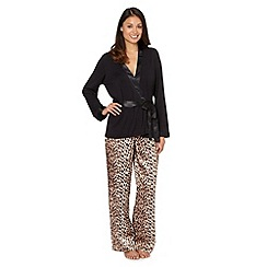 Presence - Black plain and leopard print three piece pyjama set
