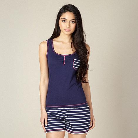 Lounge & Sleep - Navy jersey vest and striped shorts pyjama set