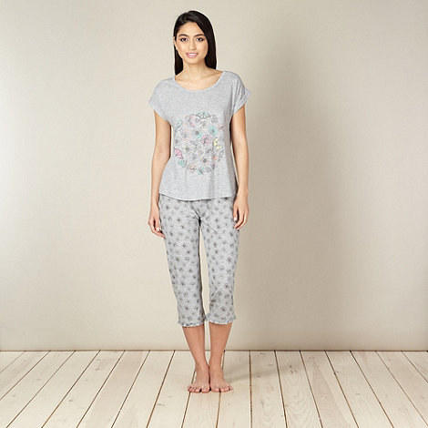 Lounge & Sleep - Grey butterfly and floral printed jersey pyjama set
