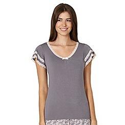 Lounge & Sleep - Grey lace trim pyjama top