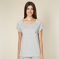 Lounge & Sleep - Grey dog embroidered pyjama top