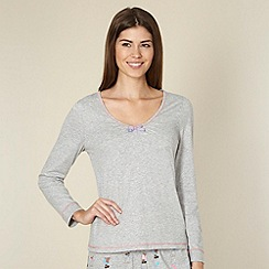 Lounge & Sleep - Grey jersey long sleeve pyjama top