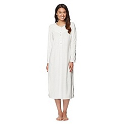Lounge & Sleep - Cream spotted fleece night dress