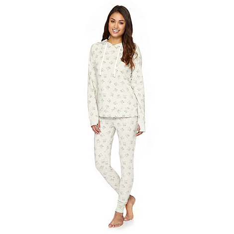 Iris & Edie - Grey cat print top and bottom pyjama set