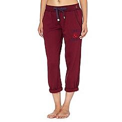 Iris & Edie - Dark red branded cropped pyjama bottoms
