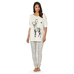 Iris & Edie - Light grey Christmas reindeer print pyjama set