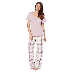 RJR.John Rocha - Designer light purple checked pyjama bottoms and top set