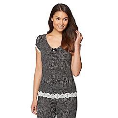 J by Jasper Conran - Designer black spotted jersey pyjama top