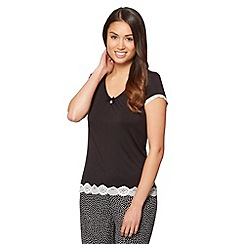 J by Jasper Conran - Designer black plain jersey pyjama top