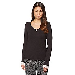J by Jasper Conran - Black plain long sleeved pyjama top