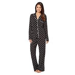 J by Jasper Conran - Designer black reverse bow printed pyjama set