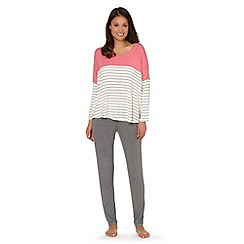 J by Jasper Conran - Designer grey plain and striped jersey pyjama set