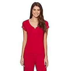 J by Jasper Conran - Designer dark pink lace trim pyjama top