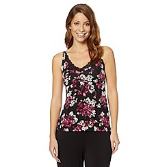 Gorgeous DD+ - Purple floral printed lace trim camisole