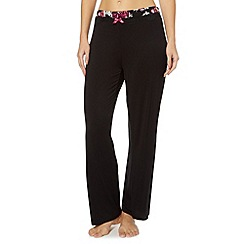 Gorgeous DD+ - Black floral trim pyjama bottoms