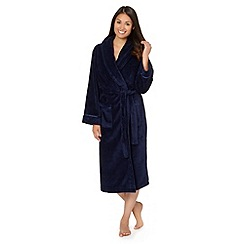 Lounge & Sleep - Navy fleece dressing gown