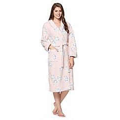 Lounge & Sleep - Pale pink rose print fleece dressing gown
