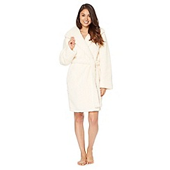 Lounge & Sleep - Cream faux shearling fluffy dressing gown