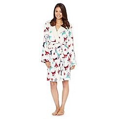 Lounge & Sleep - Cream prancing deer dressing gown