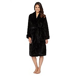 J by Jasper Conran - Designer black textured mink dressing gown