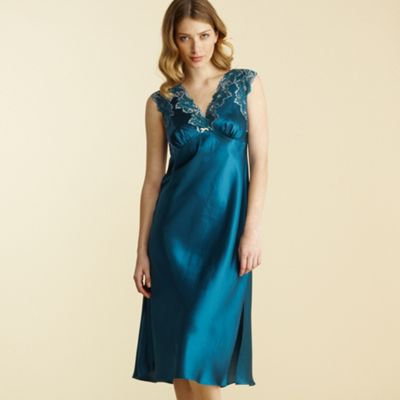 Green lace trim satin nightdress