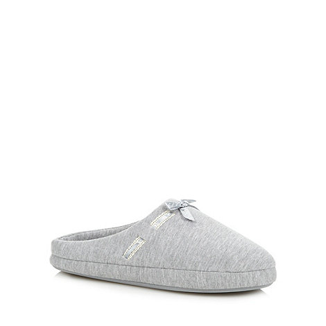Lounge & Sleep - Grey dotted ribbon bow mule slippers