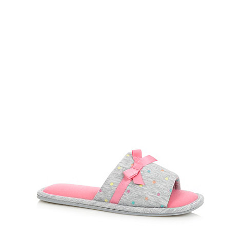 Lounge & Sleep - Pink spotted jersey mule slippers