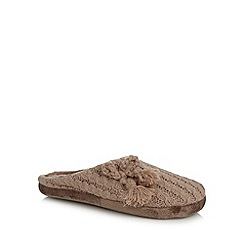 RJR.John Rocha - Designer light brown knitted tassel mule slippers