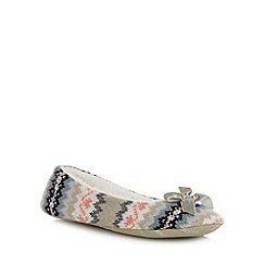 RJR.John Rocha - Designer light grey fairisle knitted ballet slippers