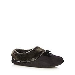 Totes - Black faux fur cuff mule slippers