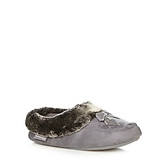 Totes - Grey faux fur cuff mule slippers