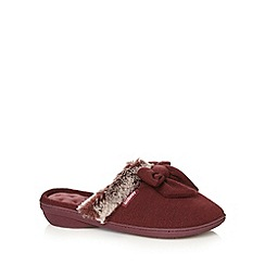 Totes - Dark red faux fur bow cuff mule slippers