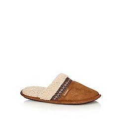 Totes - Tan memory foam faux shearling mule slippers