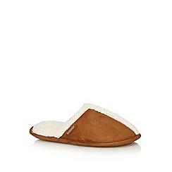 Totes - Tan faux shearling sherpa trim mule slippers