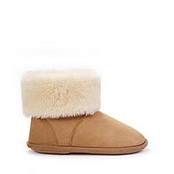 Just Sheepskin - Tan sheepskin bootie slippers