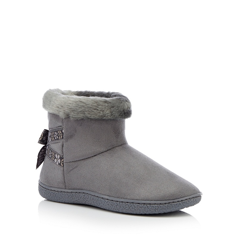 cd6bd47f0bc7d Totes - Dark Grey Folk Tape Suedette 'Isotoner Pilowstep' Boot Slippers