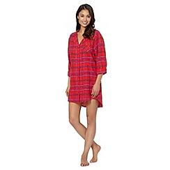 Lounge & Sleep - Red brushed check night shirt