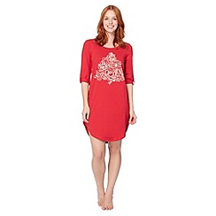 Lounge & Sleep - Red jersey Christmas tree night dress